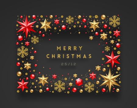 Christmas greeting illustration. Frame made from stars, ruby gems golden snowflakes, beads and glitter gold. Vector illustration.