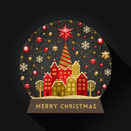 Globe de neige plat illustration décorative. Illustration vectorielle de Noël. Vecteurs