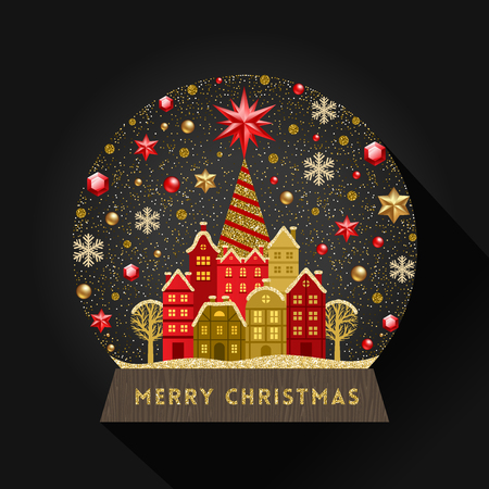 Decorative illustration flat snow globe. Christmas vector illustration.