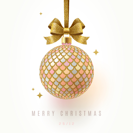 Christmas greeting card - ornate Christmas ball with glitter gold  hang on ribbon. Vector illustration. Illustration