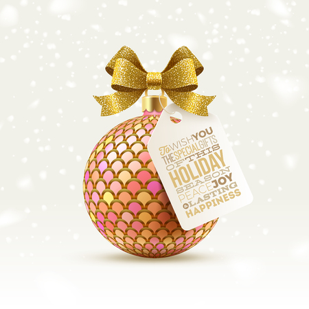 Ornate Christmas ball with glitter gold bow and tag with type design greeting, Vector illustration.