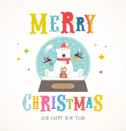 Cartoon flat style colorful Christmas vector illustration. Polar bear with gift box and bullfinches inside snowglobe. Illustration