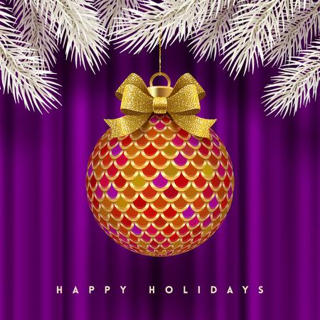 Christmas greeting card - ornate Christmas ball with glitter gold bow ribbon. Vector illustration. Иллюстрация