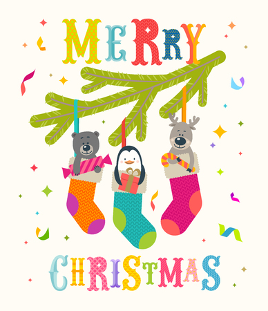 Christmas greeting vector illustration. Cute little animals with gifts placed inside a Christmas stocking.