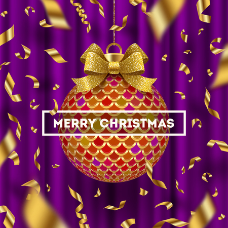 Christmas greeting card - ornate Christmas ball with glitter gold bow ribbon and  falling golden confetti. Vector illustration.