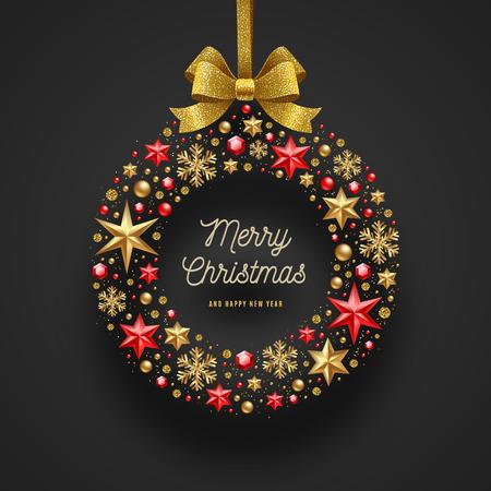 Bożenarodzeniowa powitanie ilustracja. Ramka w postaci świątecznego wianku zrobionego z gwiazd, rubinowych klejnotów złotych płatków śniegu, koralików i wstążki z brokatem ze złota.