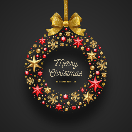 Christmas greeting illustration. Frame in the form of Christmas wreath made from stars, ruby gems golden snowflakes, beads and glitter gold bow ribbon. Vectores