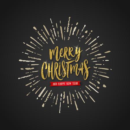 Vector Christmas greeting design - Glitter gold brush calligraphy and sunburst rays on black background. Illustration