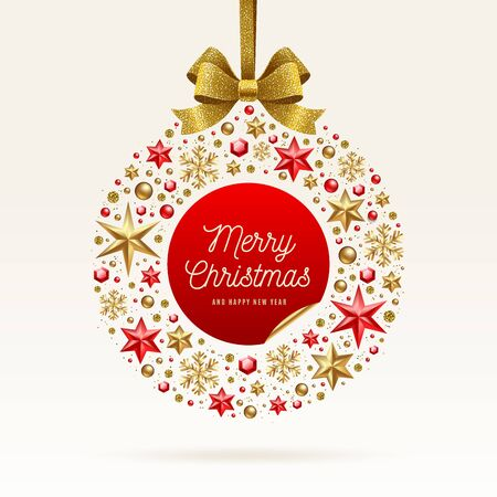 Christmas greeting illustration. Absract Christmas bauble made from stars, ruby gems golden snowflakes, beads and glitter gold bow ribbon.