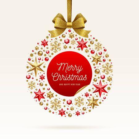 Illustration de voeux de Noël. Boule de Noël Absract faite d?étoiles, de flocons de neige dorés, de perles et de rubans dorés scintillants.