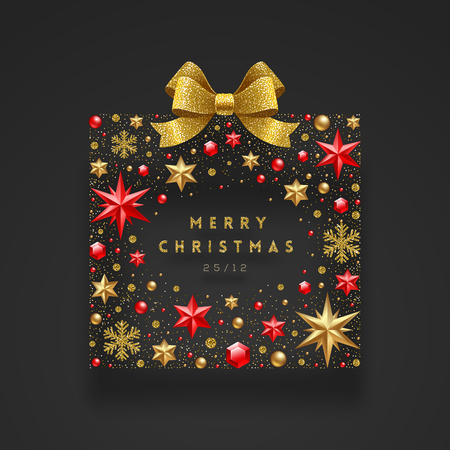 Christmas greeting illustration. Abstract gift box made from stars, ruby gems golden, snowflakes, beads and glitter gold bow ribbon.