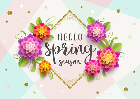 Spring greeting card with ornamental frame and flowers on a abstract background. Illustration