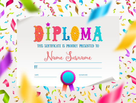 Vector template of kids diploma for kindergarten, school, preschool or playschool. Multicolored certificate type design on a white paper and colorful falling confetti. Illustration