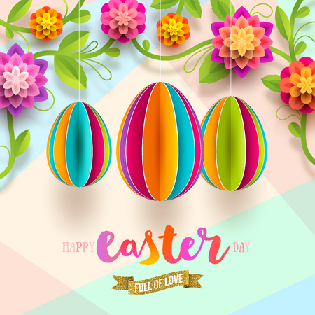 Easter greeting card - colorful paper eggs and flowers. Vector illustration. Illustration