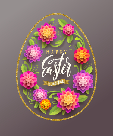 Easter greeting card - Easter egg-shaped glitter gold frame with brush calligraphy greeting and  paper flowers. Vector illustration.