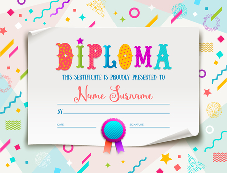 Vector template of kids diploma for kindergarten, school, preschool or playschool. Multicolored certificate type design on a abstract shape colorful background.
