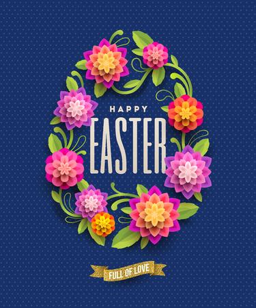 Easter greeting card - Easter egg-shaped floral frame with Easter greeting. Vector illustration. Illustration