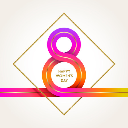 8 March International women's day greeting card -colorful ribbon in the shape of sign eight and glitter gold frame. Vector illustration. Vettoriali