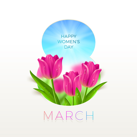 8 March International womens day illustration. Greeting card with tulips flowers. Vector design. Illustration