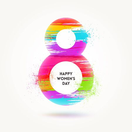 8 March International womens day illustration. Greeting card with colorful painted sign eight. Vector grunge design.