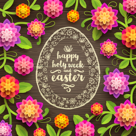 Easter greeting card - Decorative Easter egg with greeting and paper flowers on a wooden background. Vector illustration.