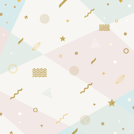 Vector abstract avant garde retro background with glitter gold geometric shapes Illustration