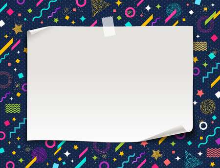 White paper banner on a multicolored abstract shape background,