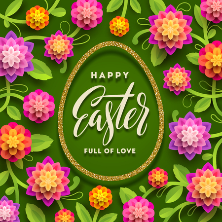 Easter greeting card. Easter calligraphic greeting in glitter gold egg-shaped frame and paper flowers on a green background. Vector illustration.