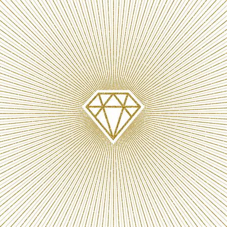 Glitter gold shining diamond with sunburst. Vector illustration. Ilustrace
