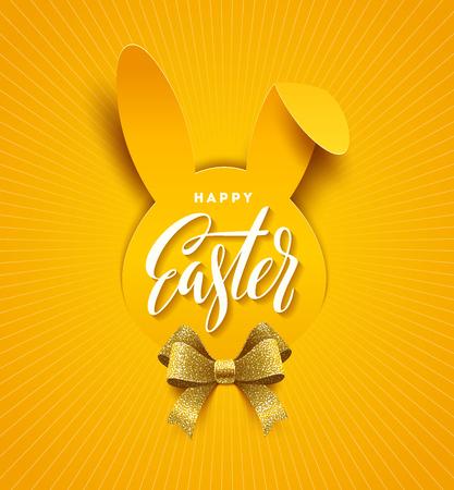 Tarjeta de felicitación de pascua. Saludo caligráfico de Pascua en una silueta de papel de cabeza de conejo y arco de cinta dorada brillo. Ilustración vectorial