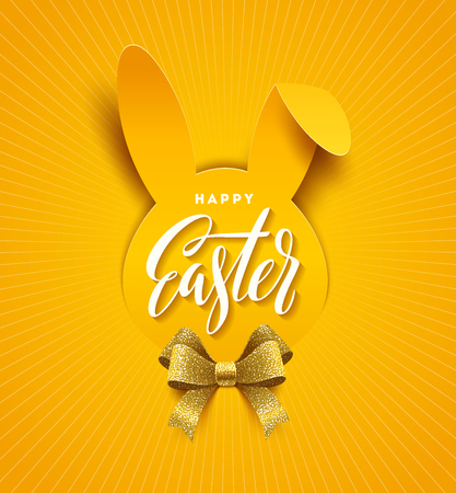Easter greeting card. Easter calligraphic greeting on a paper silhouette of rabbit head and glitter golden ribbon bow. Vector illustration.