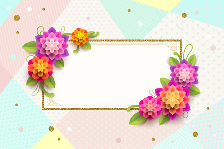 Greeting card with ornamental frame and flowers on a abstract background.