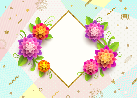 Greeting card with glitter gold frame and flowers on a abstract background.