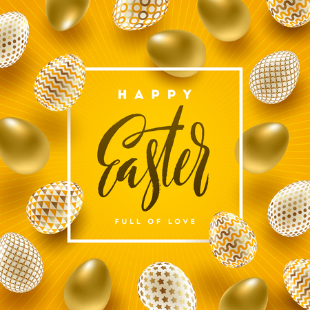 Easter vector illustration with calligraphic greeting and Easter eggs decorated with gold. Standard-Bild - 96833763