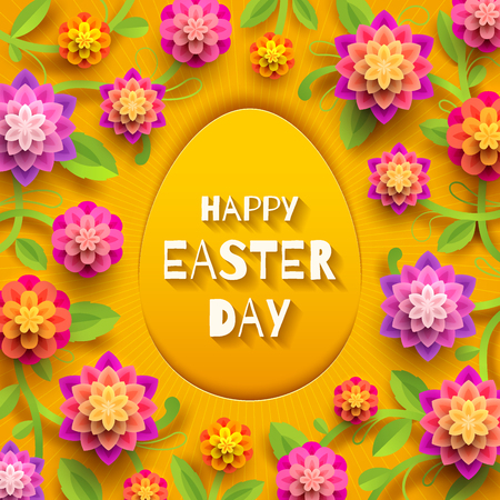 Easter greeting card. Easter paper egg with greeting and  flowers on a yellow background. Vector illustration.