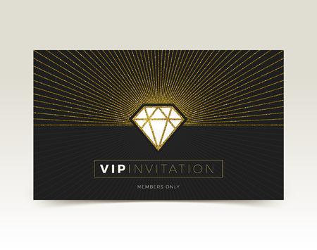 Template of VIP invitation. Glitter gold shining diamond with sunburst on a black background. Vector illustration.