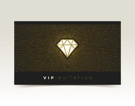 Template of VIP invitation. Glitter gold shining diamond with sunburst on a black background. Vector illustration Illustration