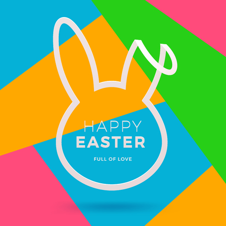 Happy Easter Day greeting card with bunny template vector illustration
