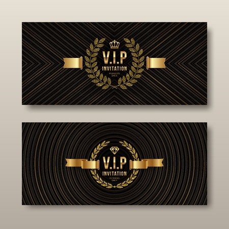 VIP golden invitation template - Set of abstract vector card design. Design for invitation, greeting card, cover or flyer.