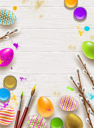 Easter background with space for greeting or message with Pussy-willow branches, paint decorated multicolored eggs on a wooden desktop. Illustration