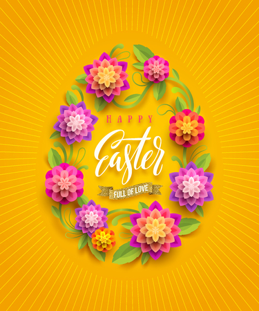 Easter greeting card - Easter egg-shaped floral frame with calligraphic greeting. Vector illustration.