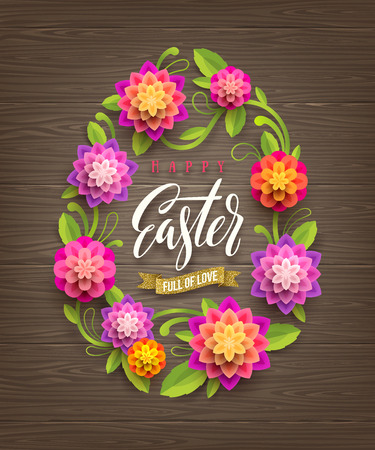 Easter vector illustration - Easter egg-shaped floral frame with calligraphic greeting on a wooden background.
