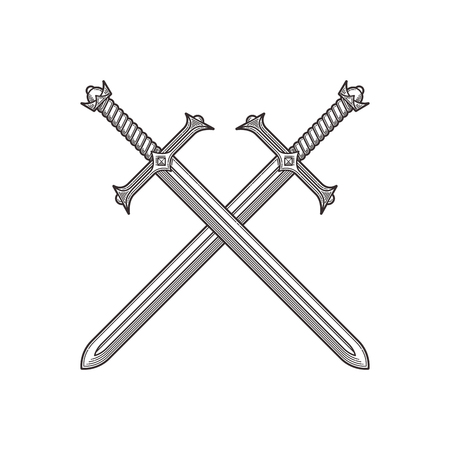 Two crossed ancient swords. Line art vector illustration.