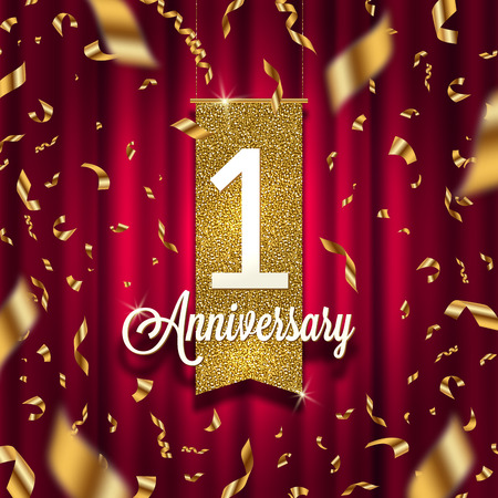 One year anniversary golden signboard in spotlight on red curtain background and golden confetti. Vector illustration. Illustration