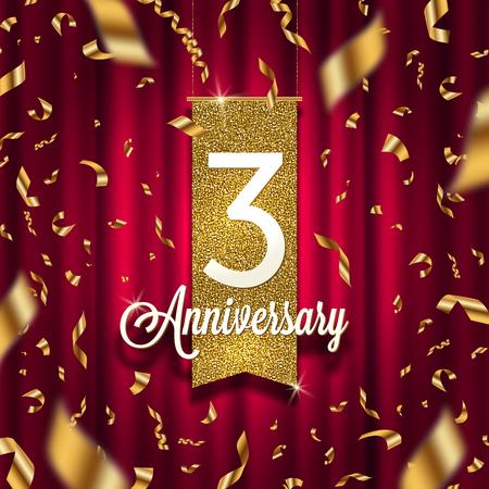 Three year anniversary golden signboard in spotlight on red curtain vector illustration.