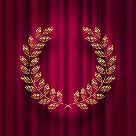 Golden laurel wreath against a red curtain background vector illustration. Çizim