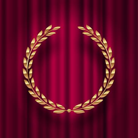 Golden laurel wreath against a red curtain background vector illustration. Stok Fotoğraf - 99562132