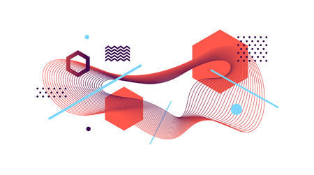 Abstract vector design style illustration with guilloche waveform element. Illustration