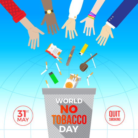 World no tobacco day concept illustration. Many hands throw out cigarettes and other items for smoking away in the trash.
