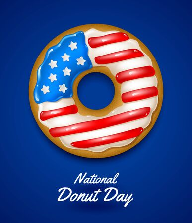 National donuts day vector illustration. Donuts glazed in the colors of USA flag.